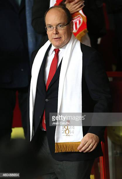Prince Albert II of Monaco attends the French Ligue 1 match between AS Monaco FC v Olympique de Marseille OM at Stade Louis II on December 14 2014 in...