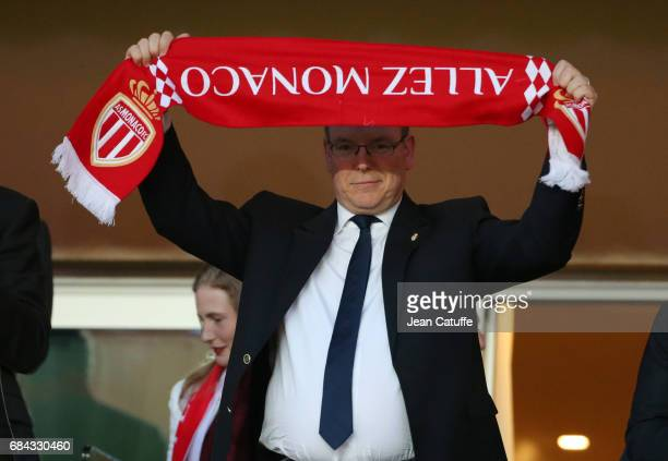 Prince Albert II of Monaco attends the French Ligue 1 match between AS Monaco and AS Saint-Etienne at Stade Louis II on May 17, 2017 in Monaco,...
