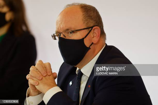 Prince Albert II of Monaco attends the One Planet Summit, part of World Nature Day, at the Reception Room of the Elysee Palace, in Paris, on January...