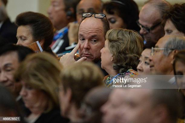 Prince Albert II of Monaco attends the opening of the IOC session at Zemni theater on February 4 2014 in Sochi Russia