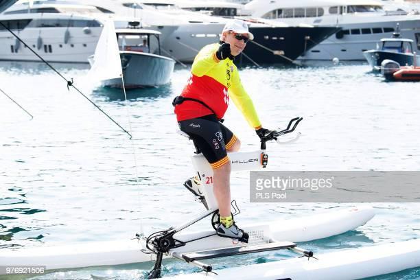 Prince Albert II of Monaco attends the Riviera Water Bike Challenge 2018 on June 17 2018 in Monaco Monaco