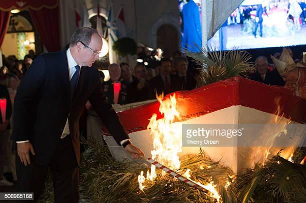 Prince Albert II of Monaco attends the SainteDevote ceremony on January 26 2015 in Monaco Monaco Sainte devote is the patron saint of The...