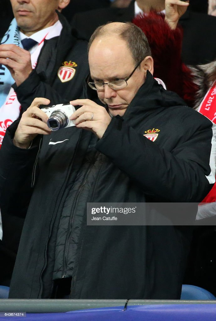 Prince Albert II of Monaco attends the UEFA Champions League Round of 16 first leg match between Manchester City FC and AS Monaco at Etihad Stadium on February 21, 2017 in Manchester, United Kingdom. (Photo by Jean Catuffe/Getty Images