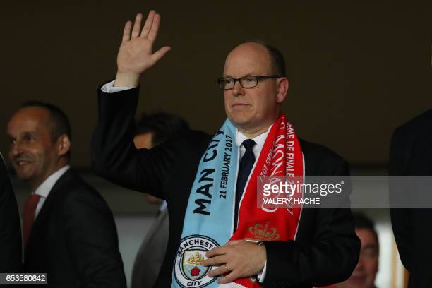 Prince Albert II of Monaco attends the UEFA Champions League round of 16 football match between Monaco and Manchester City at the Stade Louis II in...