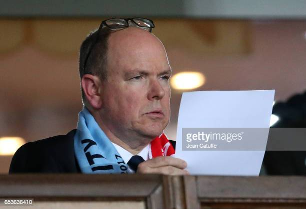 Prince Albert II of Monaco attends the UEFA Champions League Round of 16 second leg match between AS Monaco and Manchester City FC at Stade Louis II...