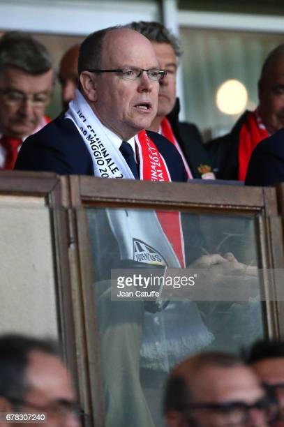 Prince Albert II of Monaco attends the UEFA Champions League semi final first leg match between AS Monaco and Juventus Turin at Stade Louis II on May...