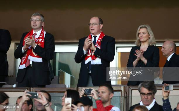 Prince Albert II of Monaco between President of AS Monaco Dmitri Rybolovlev and President of LFP Nathalie Boy de la Tour attends the French Ligue 1...