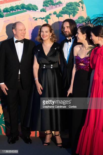 Prince Albert II of Monaco Carole Bouquet Dimitri Rassam Charlotte Casiraghi and Tatiana Casiraghi attend the Rose Ball 2019 To Benefit The Princess...
