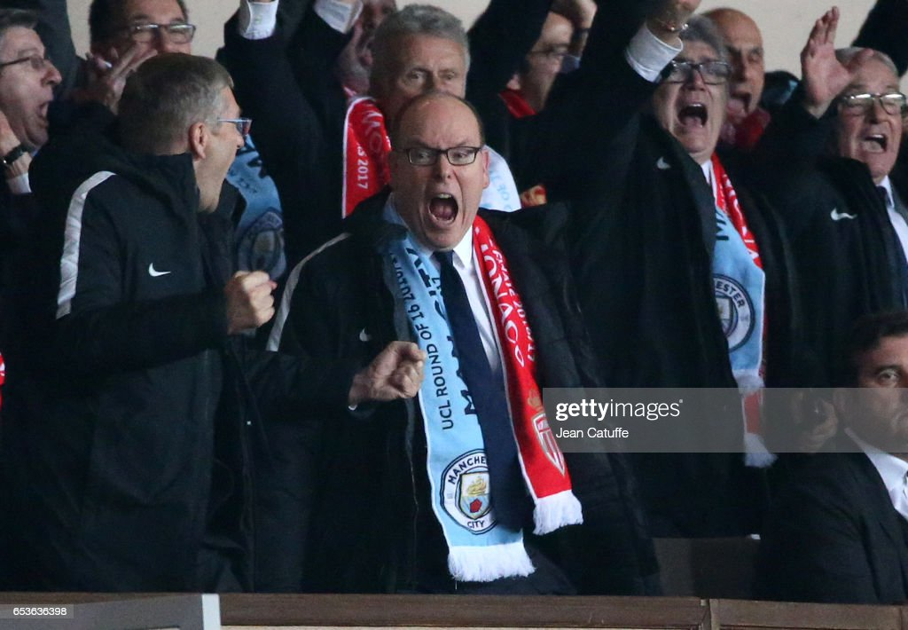 Prince Albert II of Monaco celebrates the third goal of Monaco during the UEFA Champions League Round of 16 second leg match between AS Monaco (ASM) and Manchester City FC at Stade Louis II on March 15, 2017 in Monaco, Monaco.