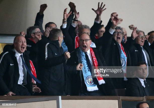 Prince Albert II of Monaco celebrates the third goal of Monaco with Vice President of AS Monaco Vadim Vasilyev and President of AS Monaco Dmitri...