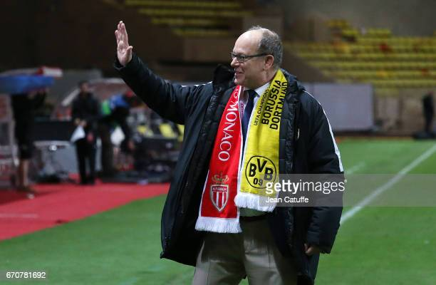 Prince Albert II of Monaco celebrates the victory following the UEFA Champions League quarter final second leg match between AS Monaco and Borussia...