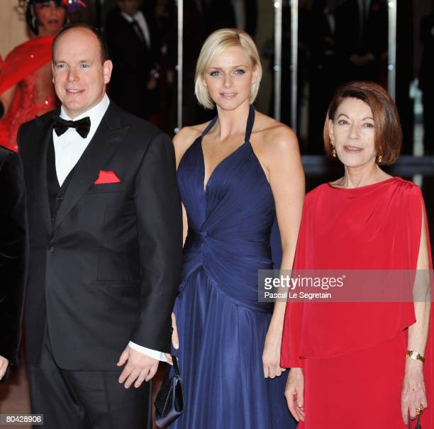 Prince Albert II of Monaco Charlene Wittstock and Baroness ElizabethAnn de Massy arrive at the 2008 Monte Carlo Rose Ball 'Movida' held at The...
