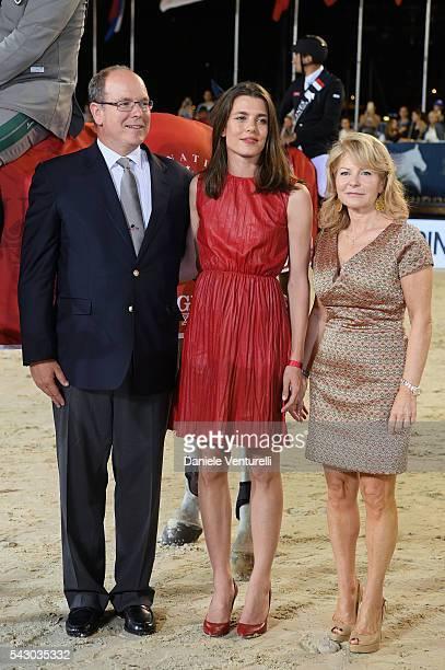 Prince Albert II of Monaco Charlotte Casiraghi and Diane Fissore attend Longines Global Champions Tour of Monaco on June 24 2016 in Monaco Monaco