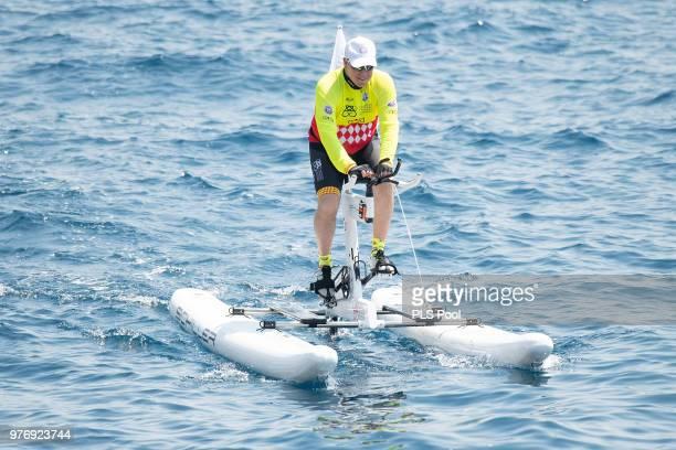 Prince Albert II of Monaco competes during the Riviera Water Bike Challenge 2018 on June 17 2018 in Monaco Monaco