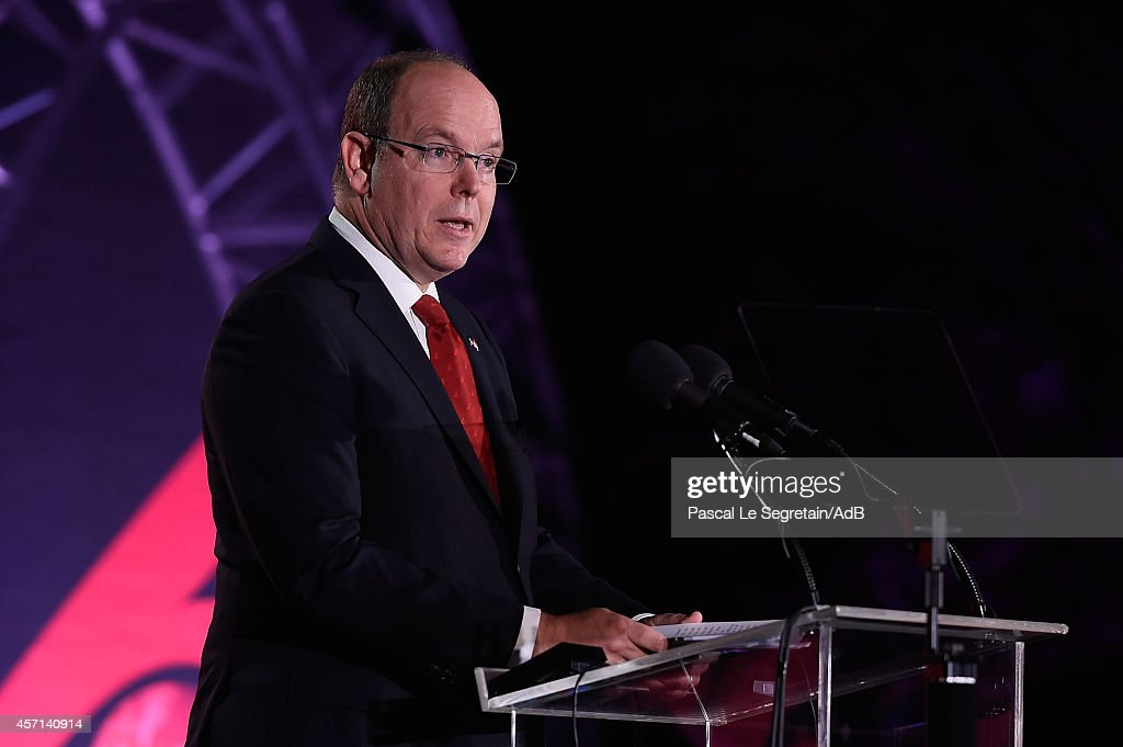 Prince Albert II of Monaco delivers a speech during the 'Prince Albert II of Monaco's Foundation' Award Ceremony on October 12, 2014 in Palm Springs, California.