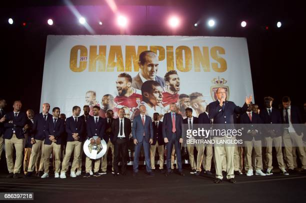 Prince Albert II of Monaco delivers a speech on May 21, 2017 in Monaco, during a celebration to mark the club winning their first French Ligue 1...