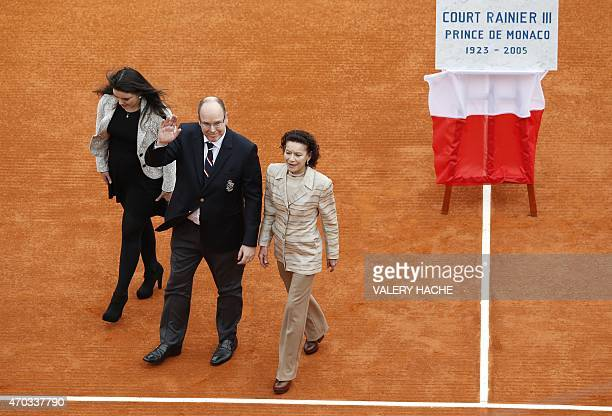 Prince Albert II of Monaco escorts his cousin ElisabethAnne de Massy and her daughter MelanieAntoinette de Massy as the leave the court after the...