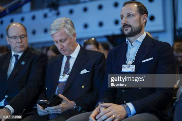 Prince Albert II of Monaco from left King Philippe of Belgium and Magnus Haakon the Crown Prince of Norway attend a panel session on day two of the...