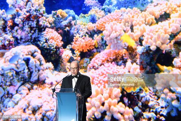 Prince Albert II of Monaco gives a speech during the Gala for the Global Ocean hosted by HSH Prince Albert II of Monaco at Opera of MonteCarlo on...