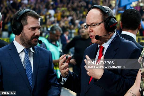 Prince Albert II of Monaco gives an interview ahead of the final four Champions League final basketball game between AS Monaco and AEK Athens at the...