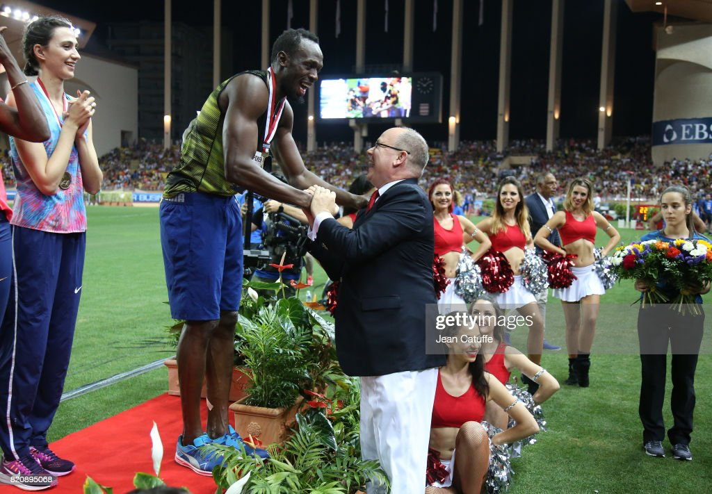 Prince Albert II of Monaco greets Usain Bolt of Jamaica after his victory in his last 100m in a meeting during the IAAF Diamond League Meeting Herculis 2017 on July 21, 2017 in Monaco, Monaco.