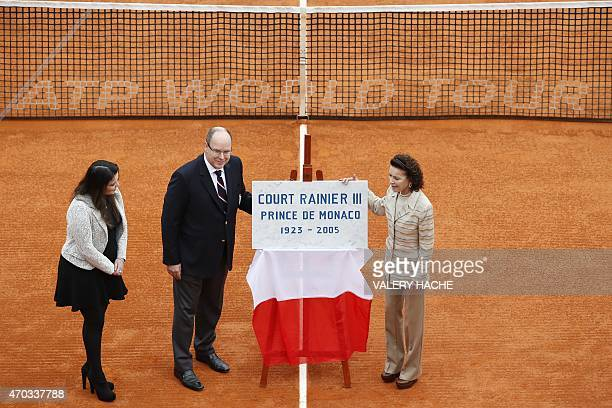 Prince Albert II of Monaco his cousin ElisabethAnne de Massy and her daughter MelanieAntoinette de Massy inaugrate the Court Rainier III during the...