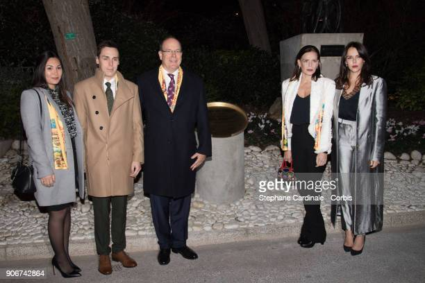 Prince Albert II of Monaco his sister Princess Stephanie of Monaco her daughter Pauline Ducruet her son Louis Ducruet and his girlfriend Marie unveil...