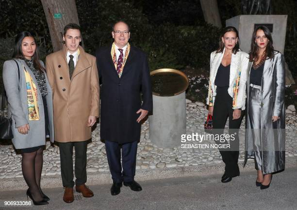 Prince Albert II of Monaco his sister Princess Stephanie of Monaco her daughter Pauline Ducruet her son Louis Ducruet and his girlfriend Marie pose...