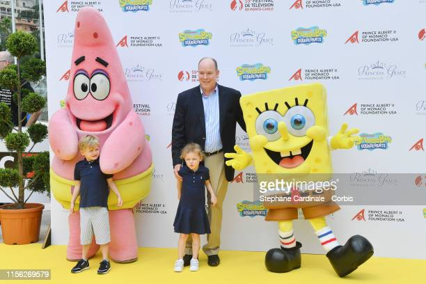 Prince Albert II of Monaco his son Prince Jacques of Monaco his daughter Princess Gabriella of Monaco Patrick Star and Sponge Bob Squarepants...