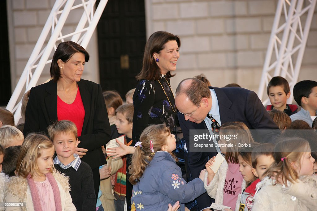HSH Prince Albert II of Monaco, HSH Princess Stephanie of Monaco, HRH Princess Caroline of Hanover, taking part in the traditional Christmas ceremony.