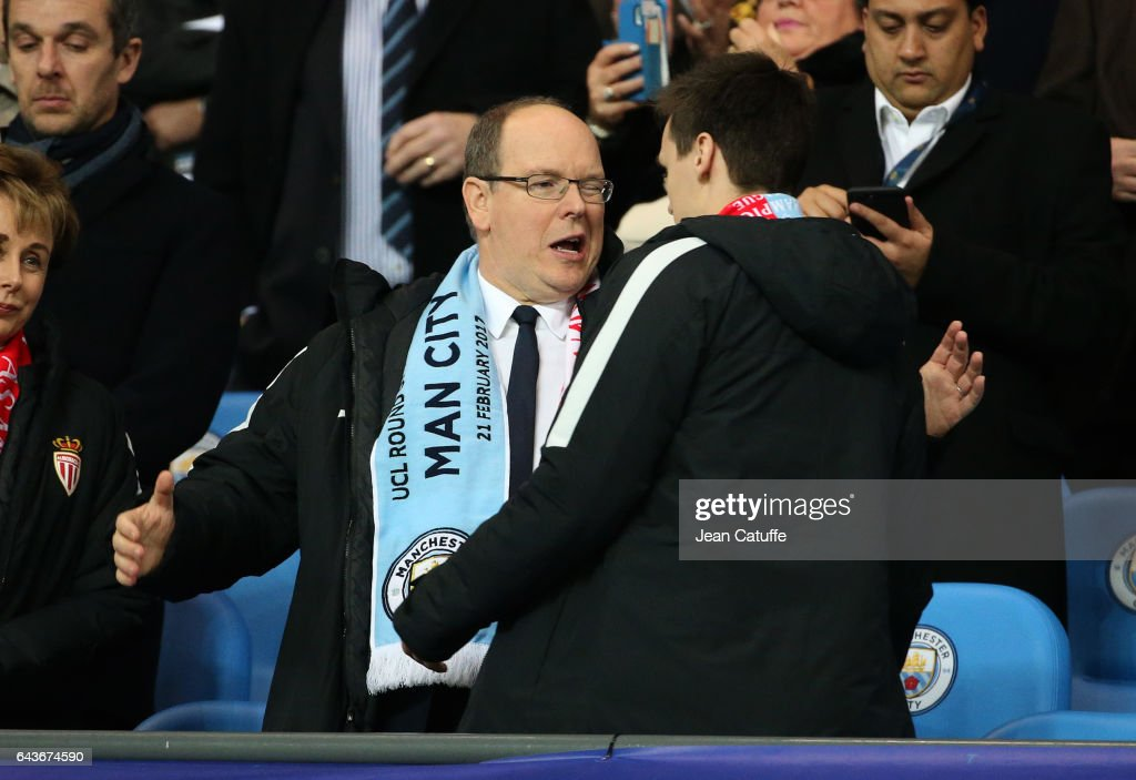 Prince Albert II of Monaco hugs Louis Ducruet before the UEFA Champions League Round of 16 first leg match between Manchester City FC and AS Monaco at Etihad Stadium on February 21, 2017 in Manchester, United Kingdom.
