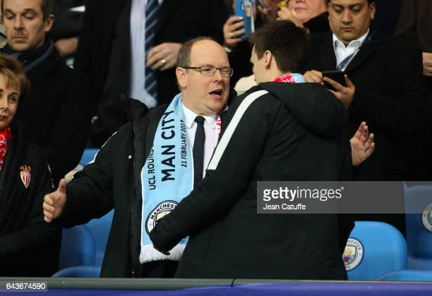 Prince Albert II of Monaco hugs Louis Ducruet before the UEFA Champions League Round of 16 first leg match between Manchester City FC and AS Monaco...