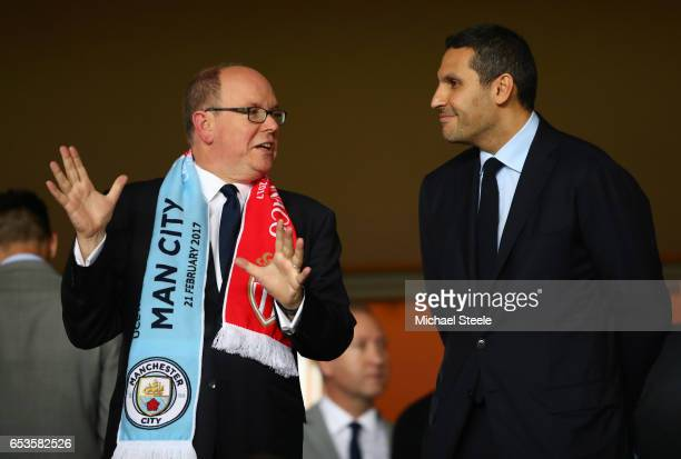 Prince Albert II of Monaco in discussion with Manchester City chairman Khaldoon AlMubarak prior to the UEFA Champions League Round of 16 second leg...