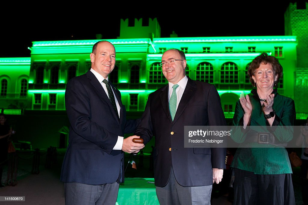 Prince Albert II of Monaco, Irish Diplomat in France Paul Kavanagh and his wife attend the Monaco Palace Illuminated in Green For St Patrick's Day at Monaco Palace on March 17, 2012 in Monaco, Monaco.