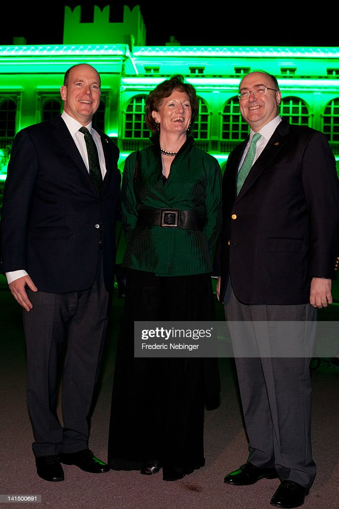 Prince Albert II of Monaco, Irish Diplomat in France Paul Kavanagh and his wife attend the Monaco Palace Illuminated in Green For St Patrick's Day, at Monaco Palace on March 17, 2012 in Monaco, Monaco.
