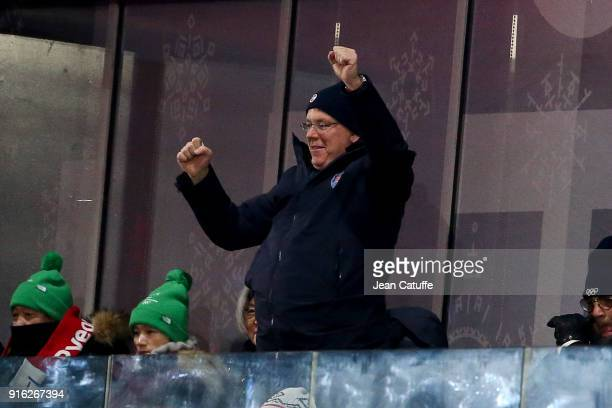 Prince Albert II of Monaco is dancing while saluting the athletes of Monaco during the Opening Ceremony of the PyeongChang 2018 Winter Olympic Games...