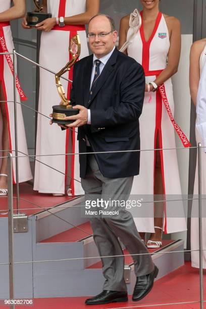 Prince Albert II of Monaco is seen on the podium at Circuit de Monaco on May 27 2018 in MonteCarlo Monaco