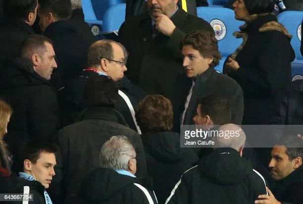 Prince Albert II of Monaco Jean Sarkozy attend the UEFA Champions League Round of 16 first leg match between Manchester City FC and AS Monaco at...