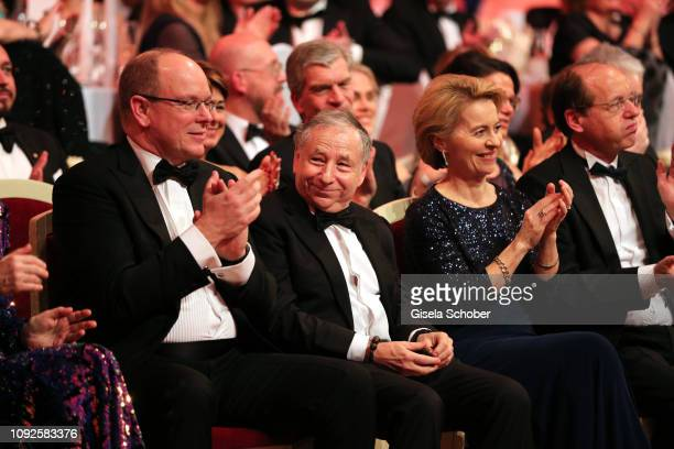 Prince Albert II of Monaco Jean Todt German Minister of defense Dr Ursula von der Leyen and her husband Heiko von der Leyen during the 14th Semper...