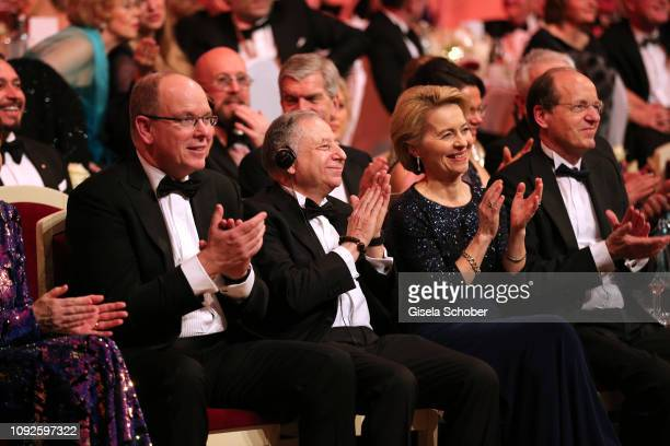 Prince Albert II of Monaco Jean Todt German Minister of defense Dr Ursula von der Leyen and her husband Heiko von der Leyen during the Semper Opera...