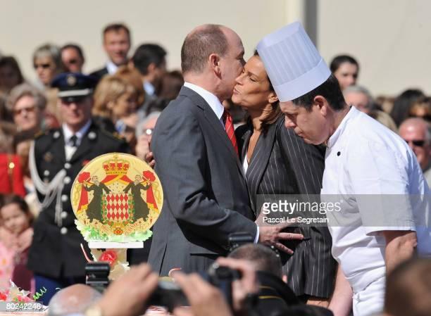 Prince Albert II of Monaco kisses his sister Princess Stephanie of Monaco during his 50th Birthday celebrations on March 14 2008 in Monaco