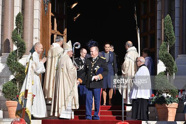 Prince Albert II of Monaco leaves the Cathedral of Monaco during the official ceremonies for the Monaco National Day at Cathedrale NotreDameImmaculee...