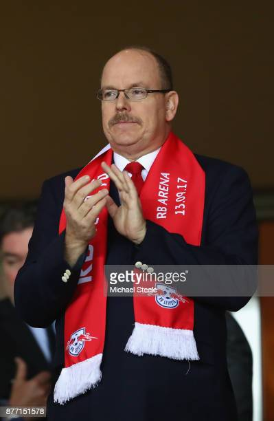Prince Albert II of Monaco looks on from the stands prior to the UEFA Champions League group G match between AS Monaco and RB Leipzig at Stade Louis...