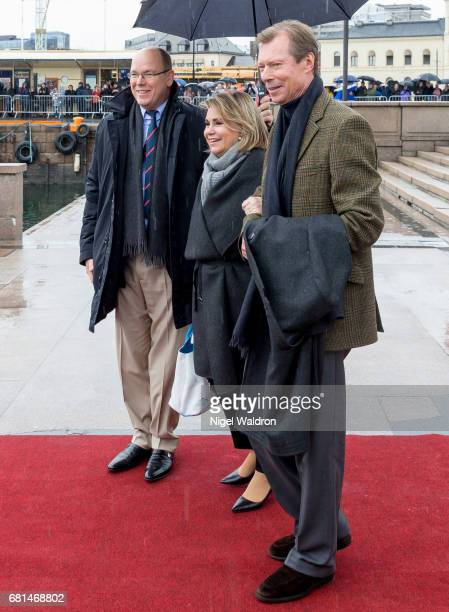 Prince Albert II of Monaco, Maria Teresa, Grand Duchess of Luxembourg and Henri, Grand Duke of Luxembourg attend a lunch on the Norwegian Royal yatch...
