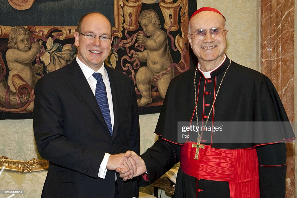 Prince Albert II of Monaco meets Vatican Secretary of State cardinal Tarcisio Bertone during a private audience at Vatican on January 12, 2013 in Vatican City, Vatican.