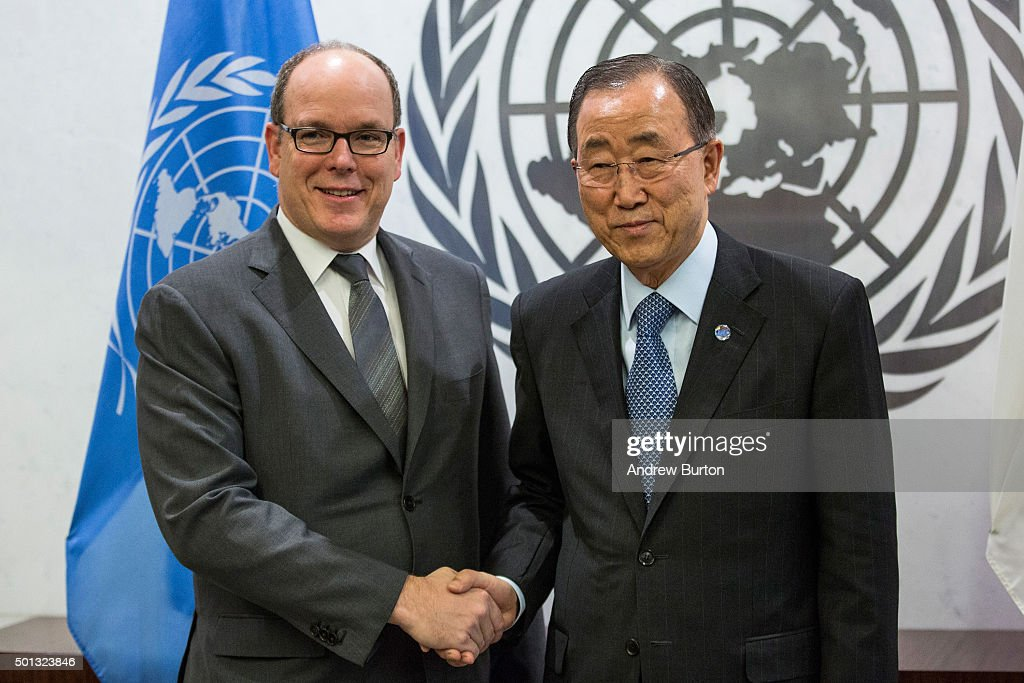 United Nations Secretary-General Ban Ki-Moon Meets With H.S.H. Prince Albert II Of Monaco : News Photo