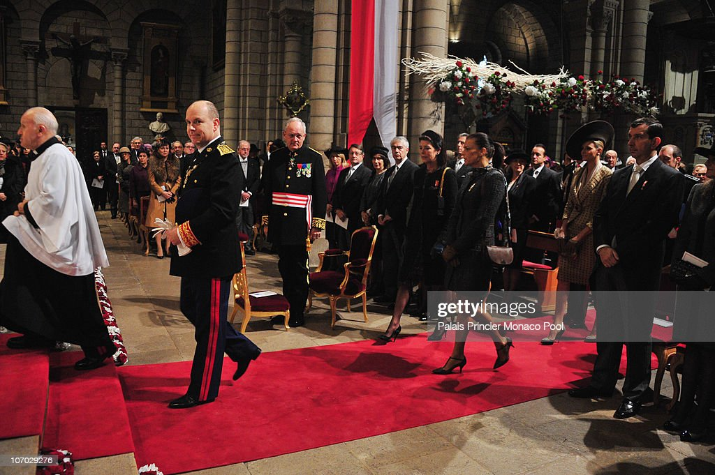 HSH Prince Albert II of Monaco, Miss Charlene Wittstock, Princess Caroline of Hanover and Princess Stephanie of Monaco attend the Mass on Monaco National Day at Cathedrale Notre-Dame Immaculee on November 19, 2010 in Monaco, Monaco.