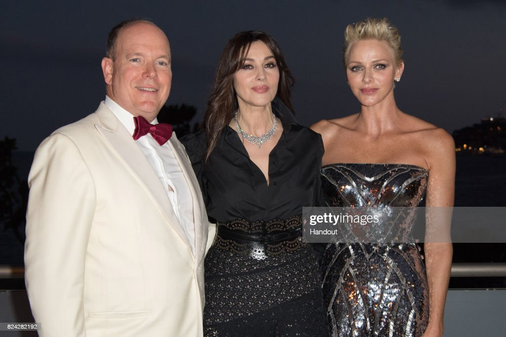Prince Albert II of Monaco, Monika Bellucci and Princess Charlene of Monaco attend the 69th Monaco Red Cross Ball Gala at Sporting Monte-Carlo on July 28, 2017 in Monte-Carlo, Monaco.
