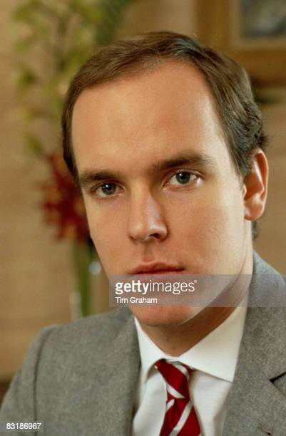 Prince Albert II of Monaco poses at his desk at the Royal Palace in Monaco December 1983 in Monte Carlo Monaco