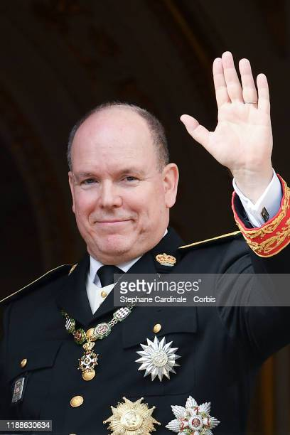 Prince Albert II of Monaco poses at the Palace balcony during the Monaco National Day Celebrations on November 19, 2019 in Monte-Carlo, Monaco.